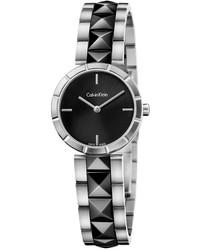 Calvin Klein Swiss Edge Black Pvd Studded Stainless Steel Bracelet Watch 30mm K5t33c41