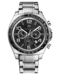 Tommy Hilfiger Chronograph Bracelet Watch 46mm Silver Black