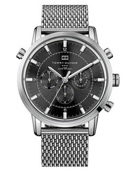 Tommy Hilfiger Chronograph Mesh Strap Watch 44mm Silver