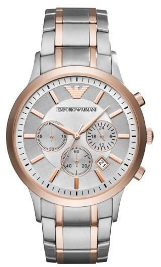 Emporio Armani Two Tone Chronograph Bracelet Watch 43mm