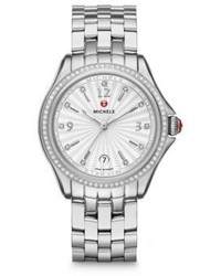 Michele Watches Belmore Chronograph Diamond Stainless Steel Bracelet Watch