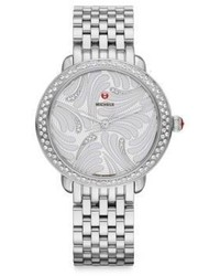 Michele Watches Serein 16 Swan Diamond Stainless Steel Chronograph Bracelet Watch