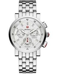 Michele Watches Sport Sail 18 Diamond Stainless Steel Chronograph Bracelet Watch