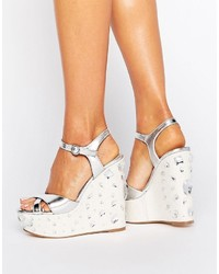 Asos Tidal Wave Jewelled Wedge Sandals