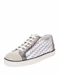 Bottega Veneta Metallic Woven Low Top Lace Up Sneaker
