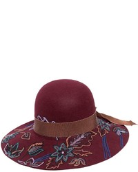 Sombrero de lana burdeos de Etro