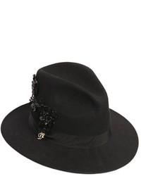 Sombrero de lana con adornos negro de Dsquared2