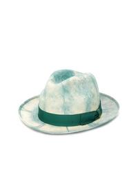 Sombrero de paja efecto teñido anudado en verde menta de Borsalino
