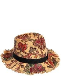 Sombrero de paja estampado marrón claro de Etro