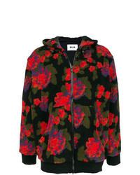 Sudadera con capucha con print de flores negra