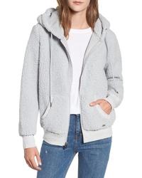 Sudadera con capucha de forro polar gris
