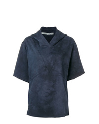 Sudadera con capucha de manga corta azul marino de Raquel Allegra