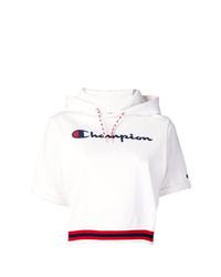 Sudadera con capucha de manga corta estampada blanca de Champion