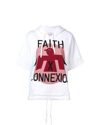 Sudadera con capucha de manga corta estampada blanca de Faith Connexion