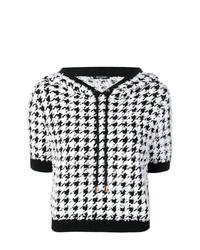 Sudadera con capucha de manga corta estampada en negro y blanco de Balmain