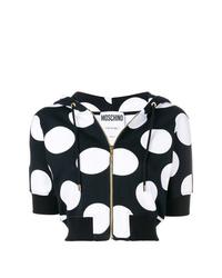 Sudadera con capucha de manga corta estampada en negro y blanco de Moschino