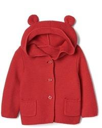Sudadera con capucha de punto roja