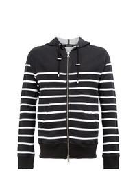 Sudadera con capucha de rayas horizontales en negro y blanco