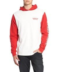 Sudadera con capucha en blanco y rojo