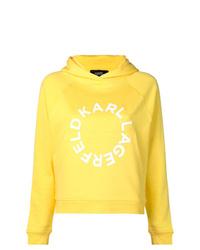 Sudadera con capucha estampada amarilla de Karl Lagerfeld