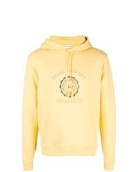 Sudadera con capucha estampada amarilla de Saint Laurent