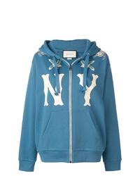 Sudadera con capucha estampada azul de Gucci