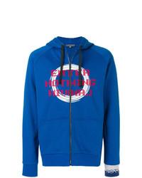Sudadera con capucha estampada azul de Lanvin