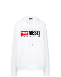 Sudadera con capucha estampada blanca de Diesel