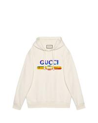 Sudadera con capucha estampada blanca de Gucci