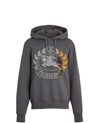 Sudadera con capucha estampada en gris oscuro de Burberry