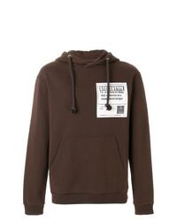 Sudadera con capucha estampada en marrón oscuro de Maison Margiela