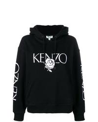 Sudadera con capucha estampada en negro y blanco de Kenzo