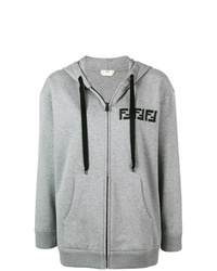 Sudadera con capucha estampada gris de Fendi