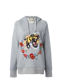Sudadera con capucha estampada gris de Gucci