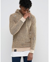 Sudadera con capucha estampada marrón claro