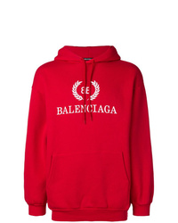 Sudadera con capucha estampada roja de Balenciaga