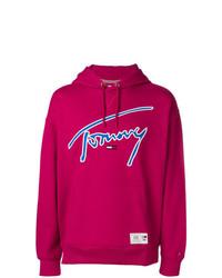 Sudadera con capucha estampada rosa de Tommy Jeans