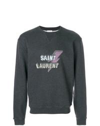 Sudadera estampada en gris oscuro de Saint Laurent