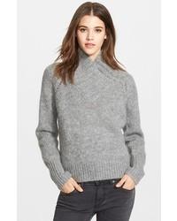 Suéter con cuello chal gris de Burberry