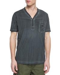 T-shirt à col boutonné gris foncé Diesel