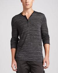 T-shirt à col boutonné gris foncé John Varvatos Star USA