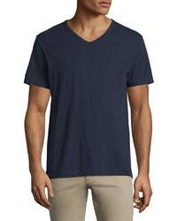 T-shirt à col en v bleu marine Vince