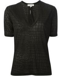 T-shirt à col en v imprimé noir Stella McCartney