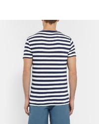 ... T-shirt à col rond à rayures horizontales blanc et bleu marine Polo  Ralph Lauren ... e6e34282ac4b