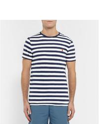 ... T-shirt à col rond à rayures horizontales blanc et bleu marine Polo  Ralph Lauren 409cf17d9c93