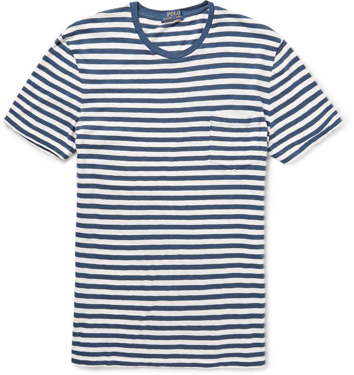 ... T-shirt à col rond à rayures horizontales blanc et bleu Polo Ralph  Lauren efe651a84234