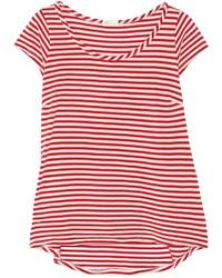 T-shirt à col rond à rayures horizontales blanc et rouge