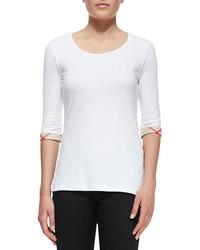 T-shirt à col rond blanc Burberry