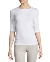 T-shirt à col rond blanc Peserico