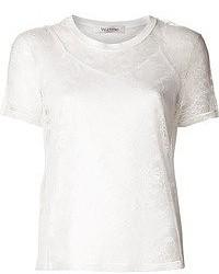 T-shirt à col rond en dentelle blanc Valentino